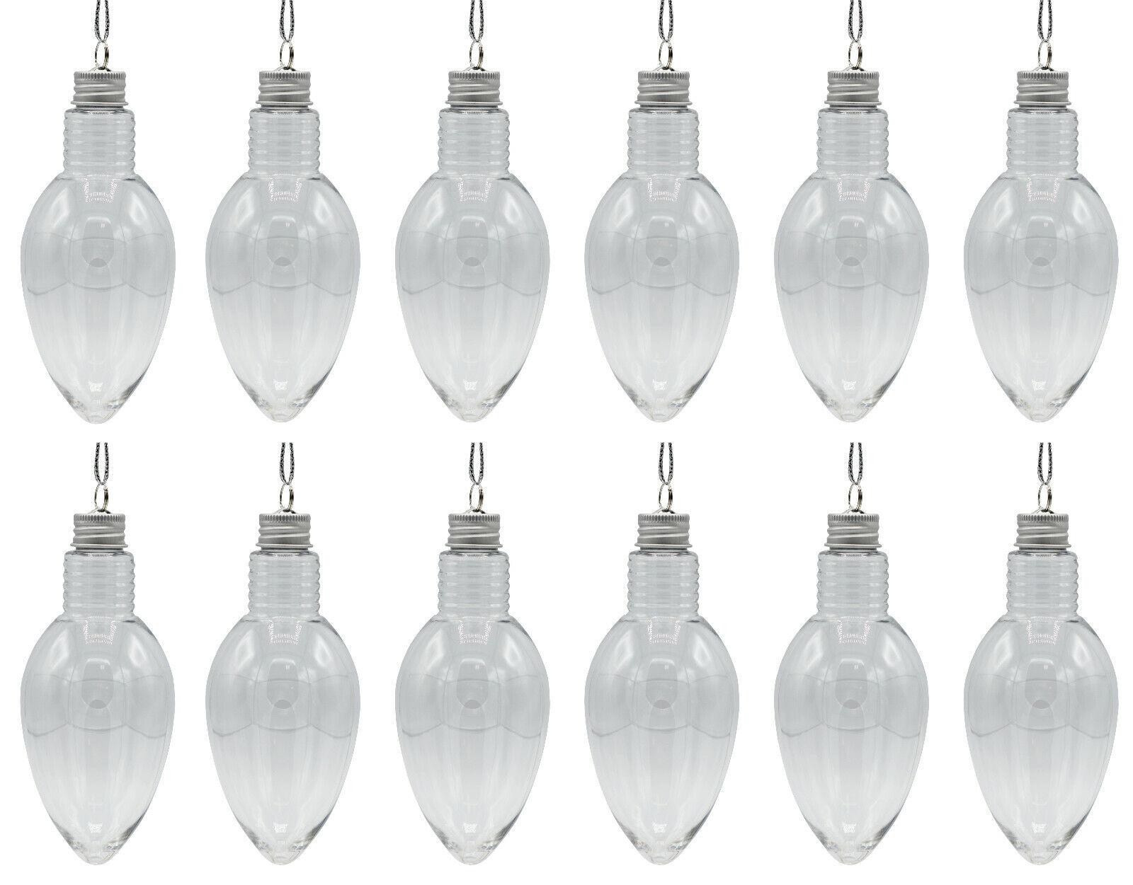 Box of 12 – 5.5 Inch Fillable Light Bulb Shape Clear Plastic Christmas Ornaments Holiday & Seasonal Décor