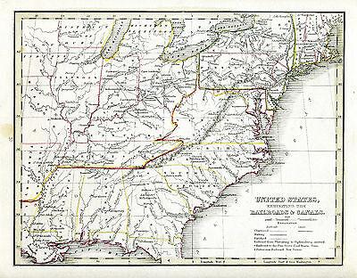 1835 Genuine Antique map United States w/ railroads & canals. TG Bradford