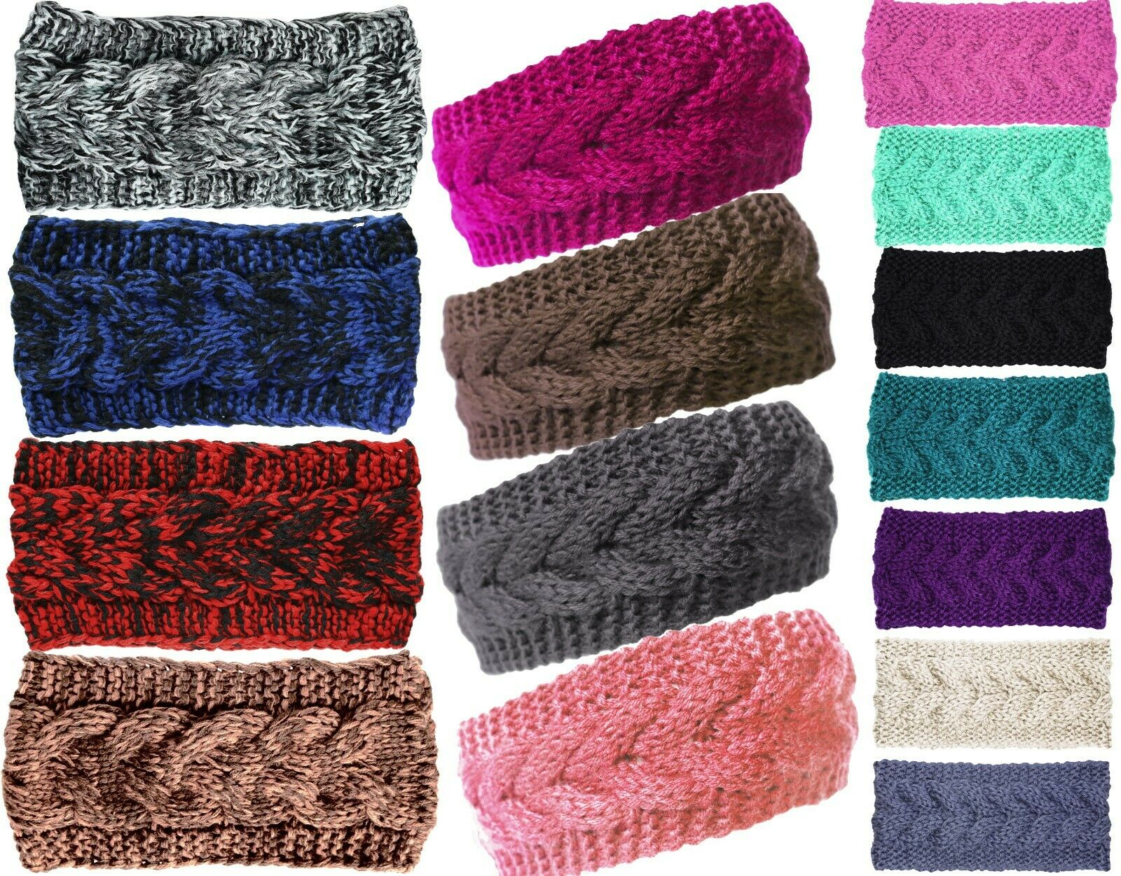 Plain Braided Winter Knit Headband Earwarmer Clothing, Shoes & Accessories
