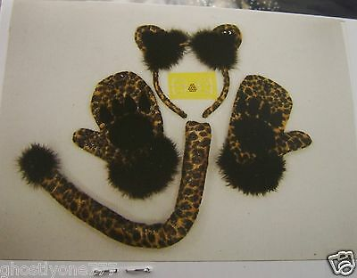Leopard Cat headband, gloves, tail, whiskers costume Claire's halloween accessor](Cat Whiskers Costume)