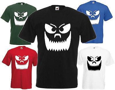 Kürbis Gesicht Halloween T-Shirt Comedy Top Kostüm Unheimlich (Smiley Kostüm Halloween)