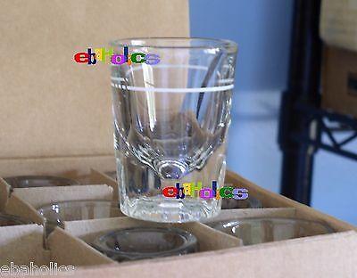 CASE of 12 heavy fluted base white line 2 oz. whiskey shot glasses libbey 5126 ()