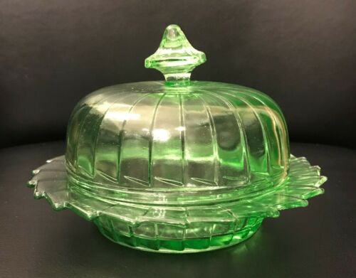 Sierra Pinwheel Green Depression Glass Butter Dish and Lid