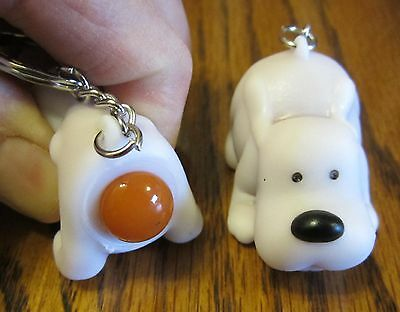 1 New Naughty Pooping Dog Keychain Squeeze Animals Poop Turd Puppy Key Ring
