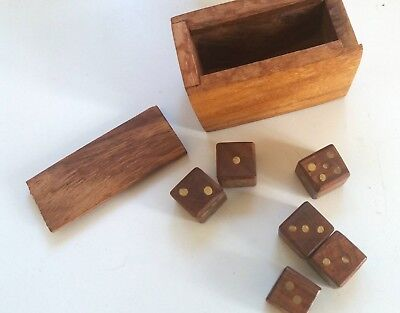 Set of 6 Wooden Die with box. Dice, games.