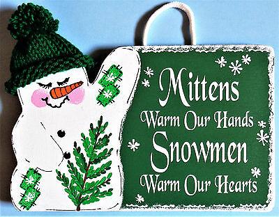 -  SNOWMAN Mittens & Snowmen SIGN Wall Door Hanger Winter Seasonal Holiday Plaque