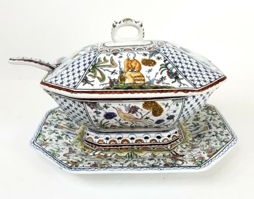 Coimbra 4 Piece Hand Painted Soup Tureen Signed Portugal