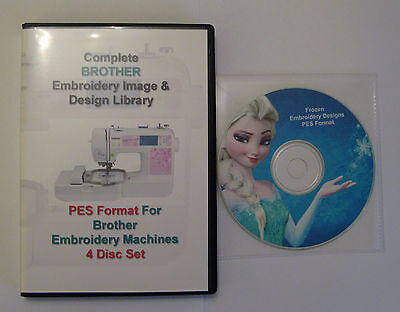 139,877 BROTHER PES Format EMBROIDERY Designs 4 DISC BOX SET+ Frozen Design CD