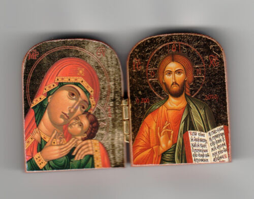 """Orthodox Icon Diptych, (2""""x3"""") mini sized, Wooden w/ Gold Leaf -Made in Greece"""