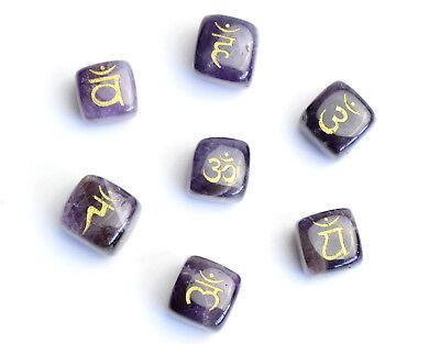 7 Pieces Natural Tumbled Amethyst Engraved Sanskrit Chakra Symbols