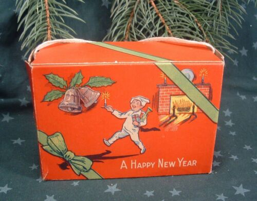 1910 Merry Christmas Holiday  Kid at Fireplace Empty Display Candy Box