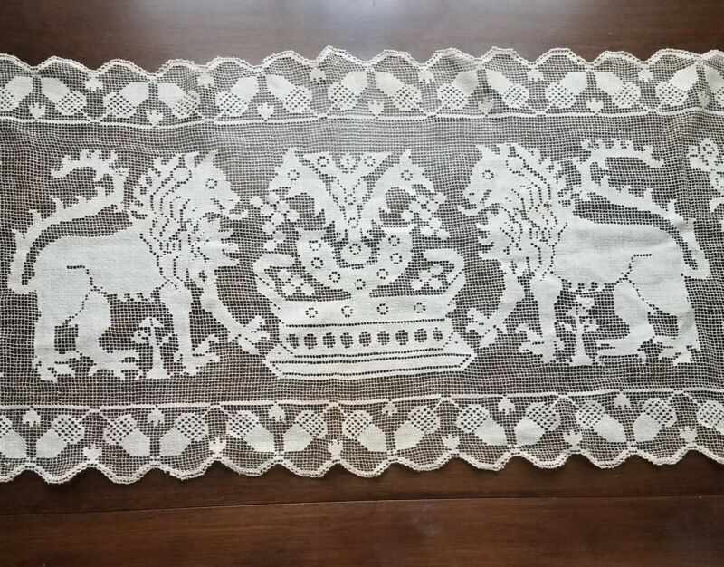 "Antique Table Runner Figural Filet Lace Lions & Dragon 16"" x 50"" Castle Decor"