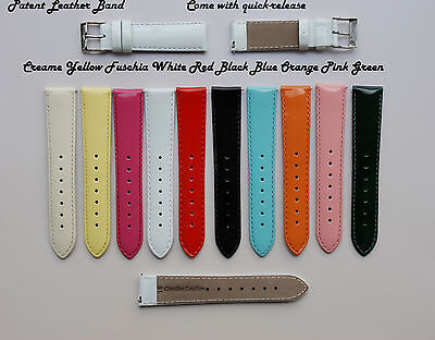 Patent Leather Watch (Genuine Shiny Patent Leather Watch Band,Strap,Interchangeable,Quick Releas)