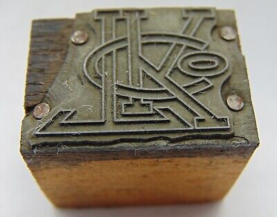 Printing Letterpress Printers Block L K C O Intertwined Letters