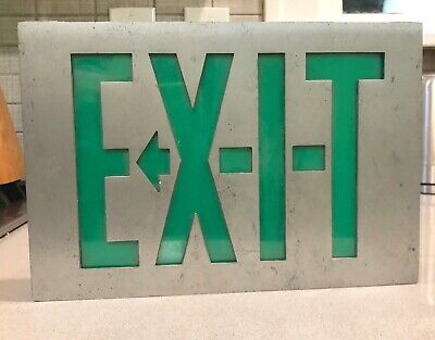 Vintage Day-brite Lighted Metal Acrylic Glass Exit Sign Green Corded 1960s