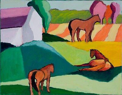 """ELLIE JONES ORIGINAL OIL PAINTING """"MEADOW AND HORSES 8"""", TREES, BARN, 11""""x 14"""""""