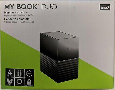 WD 4TB My Book Duo Desktop RAID External HDD USB 3.1 (WDBFBE0040JBK) #EB8762