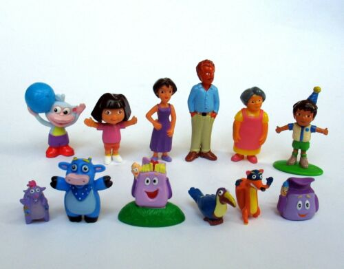 Nickelodeon Dora the Explorer Figure Set of 12 w/ Family & Friends Cake Toppers