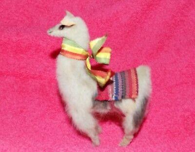 "Vintage Llama Real Fur Toy Alpaca Figure Creamy White Leather Ears  5"" Tall"