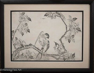 "Antique Japanese Woodblock, Bird Resting on Branch, ""T. Sakai"", Seikasai 1 of 3"