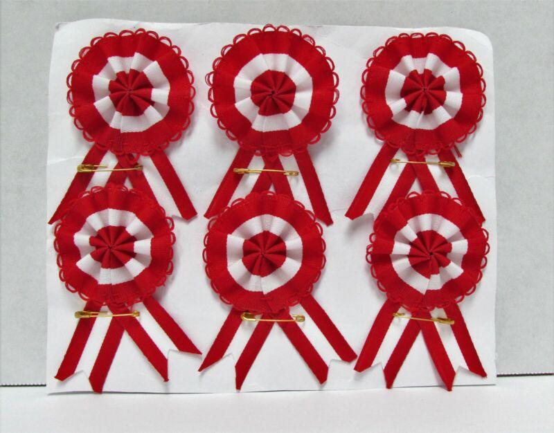Lot of 6 Peruvian Rosette Flag of Peru Badge Pin- Escarapela Peruana Red/White