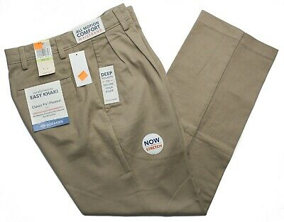 Dockers #9845 NEW Men's Pleated Classic Fit Easy Khaki Stretch Pants Classic Fit Pleated Khaki
