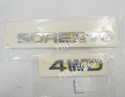KIA SORENTO 2010-2014 OEM Rear Trunk Sorento + 4wd Emblem 2pcs Set