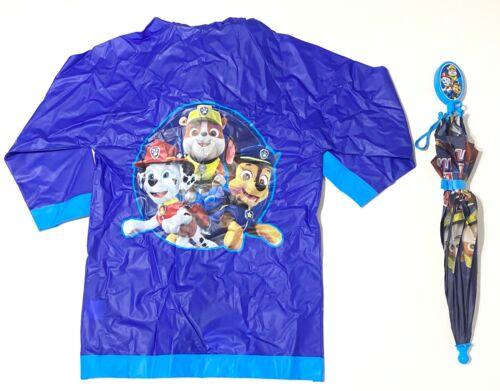 Nickelodeon Paw Patrol Boys Blue Umbrella And Vinyl Raincoat 2 Pc Set Size Large