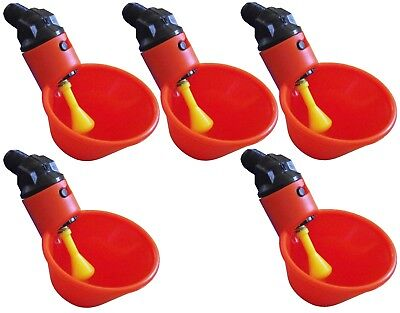 5 Automatic Waterer Drinker Cups Chicken Coop Poultry Chook Bird Turkey Drink