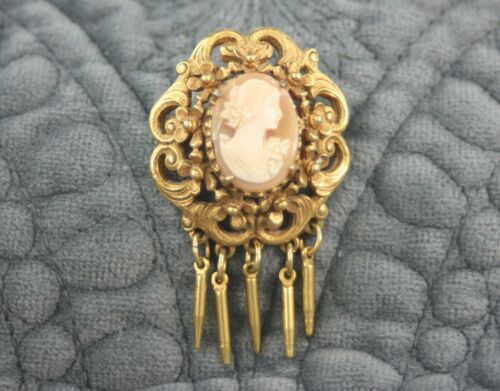 Vintage Victorian Revival Gold Florenza Shell Cameo Brooch Pendant with Dangles
