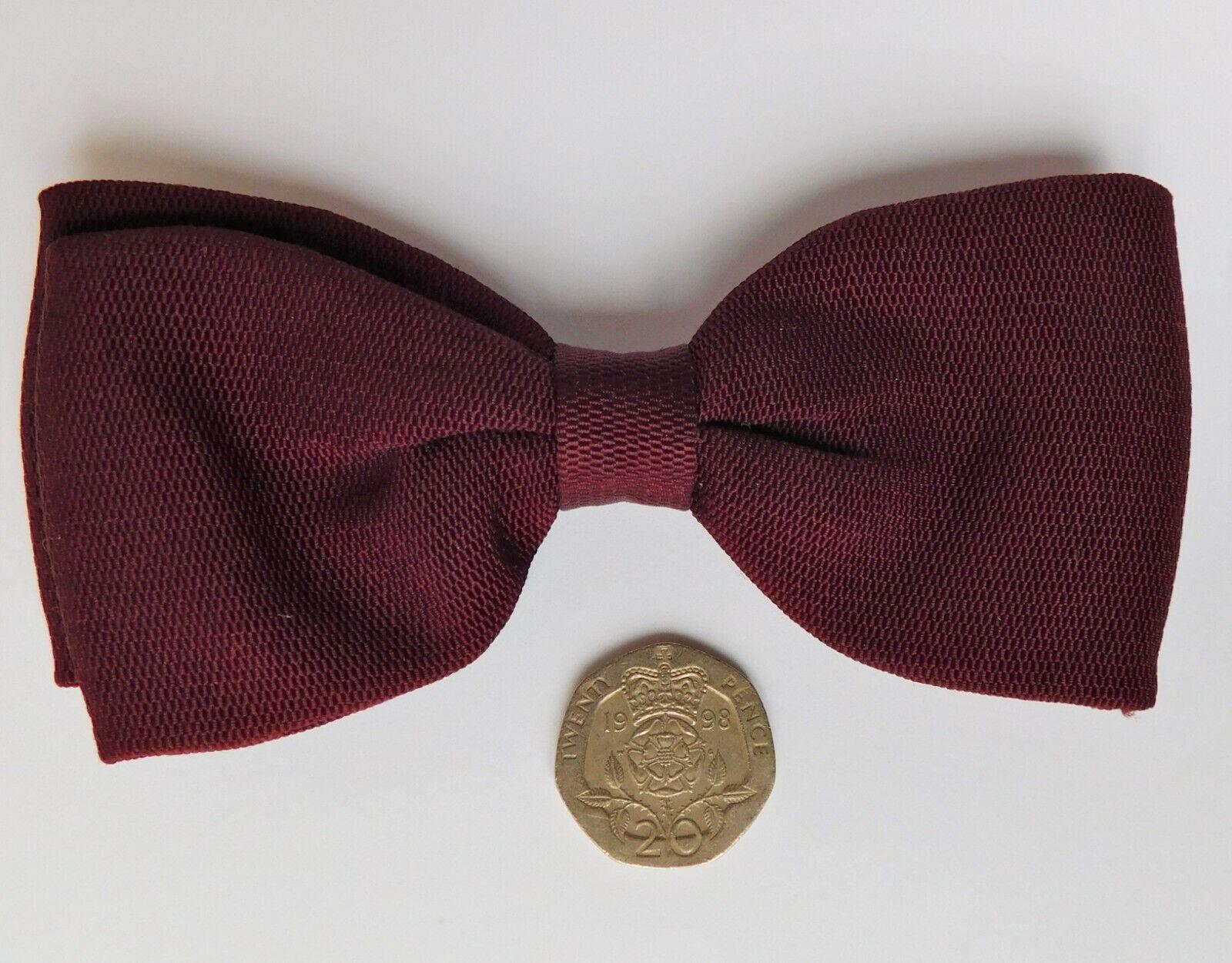 Burgundy Tenax bow tie clip on vintage 1960s mens formal tuxedo dress wear boned
