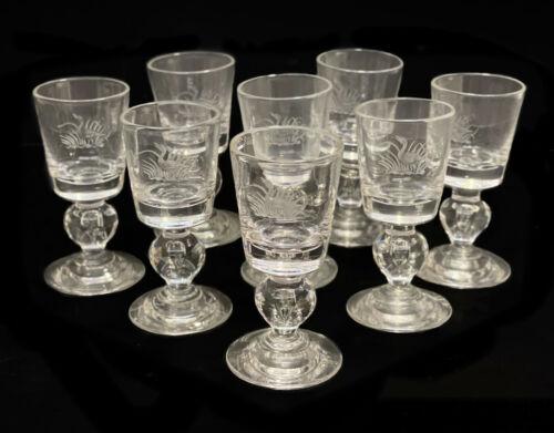8 Steuben Cut Glass Teardrop Cordial Wine Goblets, #7926. Original Box