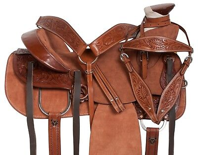 """ROUGH OUT WADE TREE ROPING HARD SEAT RANCH WESTERN LEATHER HORSE SADDLE 15"""" for sale  Bensenville"""