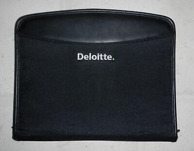 New Deloitte Touche Company Logo Zippered Black Padfolio Notebook Organizer