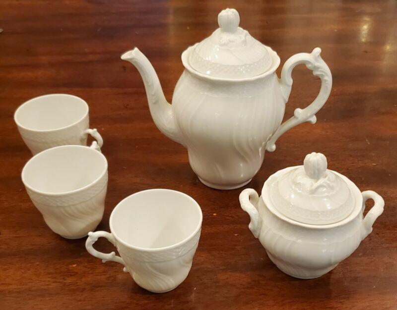 Richard Ginori BIANCO WHITE VECCHIO  Coffee Pot /Sugar Bowl/Cups Fine China