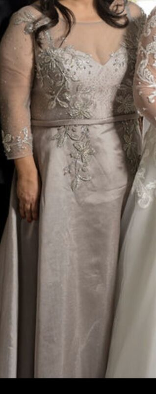 Mother of the Bride Dress Size 16 - Used once- Elegant With Crystals - Silver