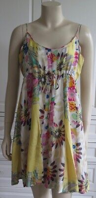 JOHNNY WAS multi-col 100% SILK floral print Summer strappy dress - M / UK12