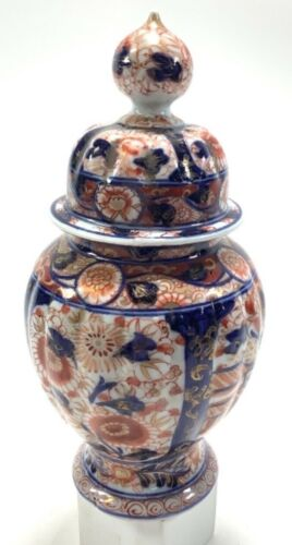 """Vintage Ceramic Floral Design Pedestal Jar Urn Container W/ Lid 9"""""""