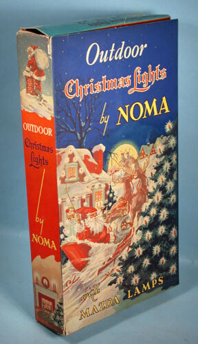 1936 Noma Christmas Electric Lights with Exceptional Santa Claus Box Mazda Lamps