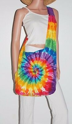 TIE DYE Shoulder Bag Rainbow PinWheel Boho Festival Bag Grateful Dead tye die ](Rainbow Pinwheel)