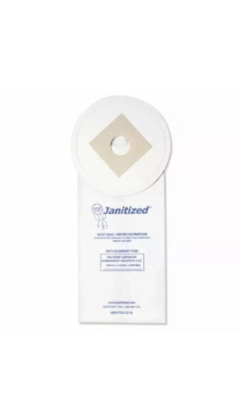 Janitized Vacuum Filter Bags, For ProTeam LineVacer/Rubbermaid 9VBP06 (100/Case)