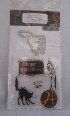 Hampton Arts 5 Pc Stamp & Die Set Happy Halloween Black Cat Hocus Pocus  SCO692 ()