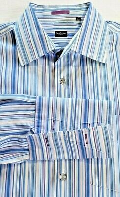 Paul Smith London STRIPED BUTTON UP SHIRT Made In Italy FRENCH CUFFS 17 x 43