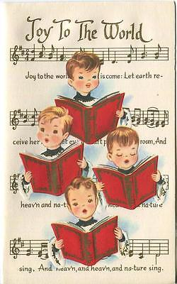 VINTAGE SING CHURCH CHOIR BOYS CHILDREN JOY TO THE WORLD SONG EMBOSSED ART CARD ()