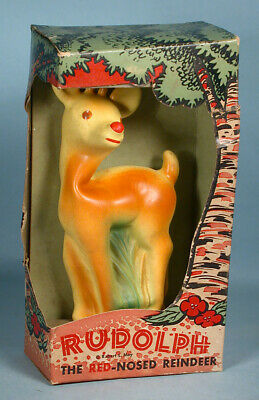 1950s Rudolph the Red Nosed Reindeer Figural Squeeze-Me Toy with Box Oak Rubber Oak Toy Box