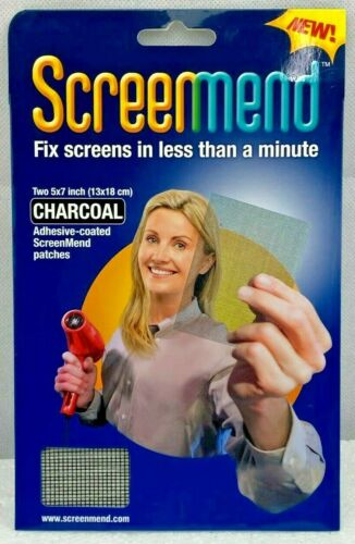"1 PK of 2 PCS Screen Mend 5""X7"" Charcoal Patches, Adhesive-Coated Solution New!"