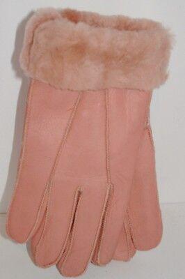 Women's Genuine Sheepskin Pink Warm Leather Shearling Fur Gloves S-M
