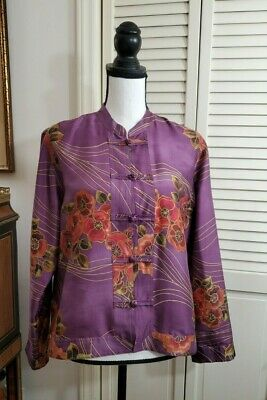 Chicos Purple Floral Silk Top Jacket Long sleeves Chico's Sz 1 / S Knot buttons