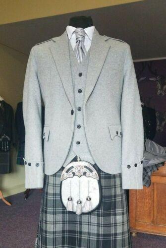 Ex Hire 100% Wool Argyll Light Grey Kilt Jacket & Waistcoat, EXCELLENT CONDITION