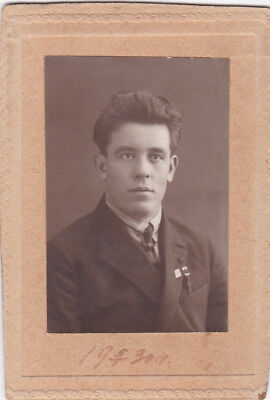 1930 CDV Handsome young man fashion Soviet Russian photo gay interest